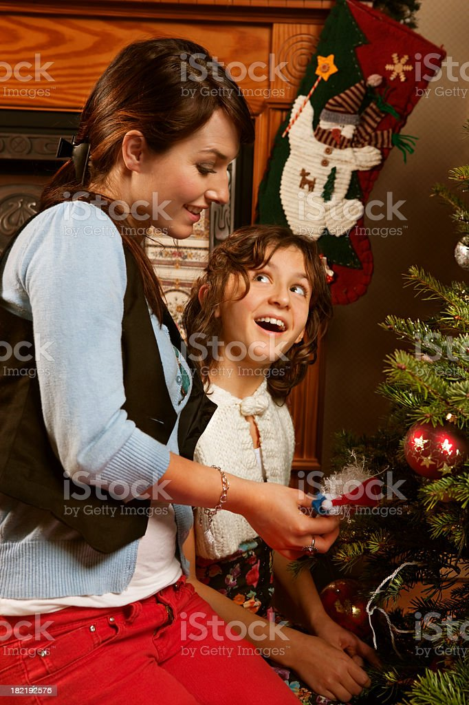 Mother and Daughter at Christmas royalty-free stock photo