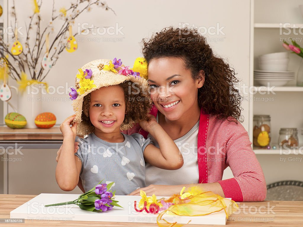 Mother and Daughter at Easter Time royalty-free stock photo