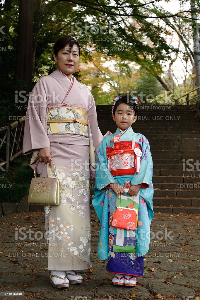 Mother and daughter at japanese festival royalty-free stock photo