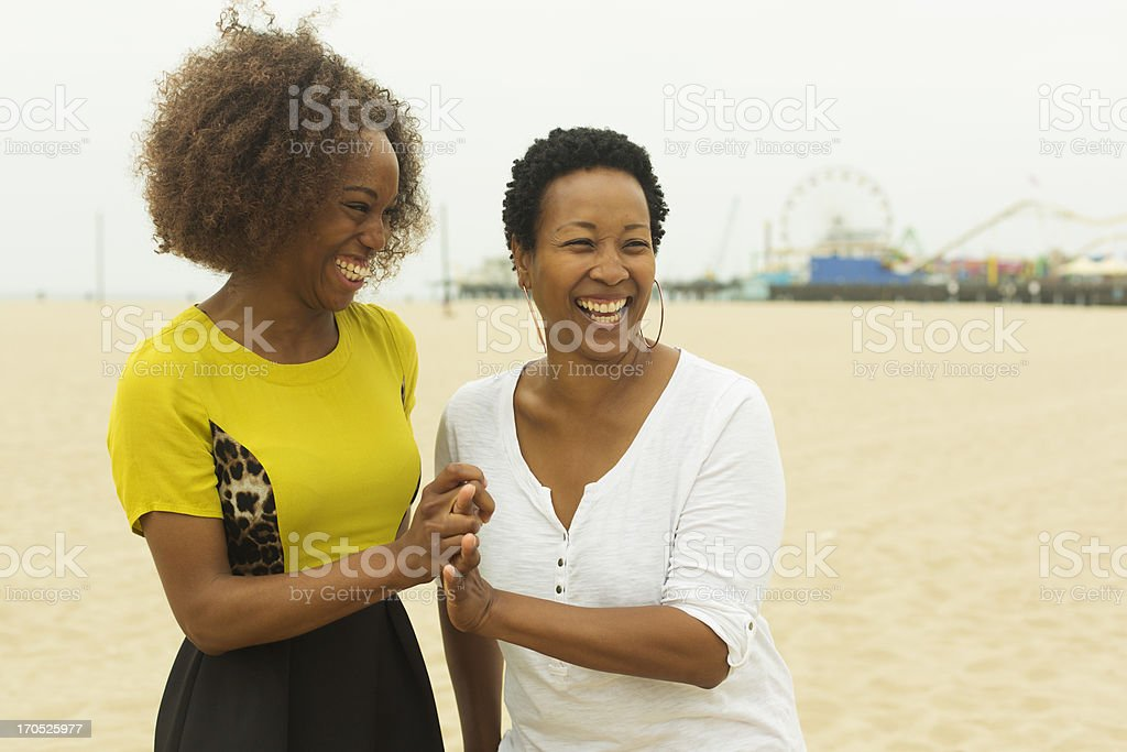 Mother and Daughter at the Beach royalty-free stock photo