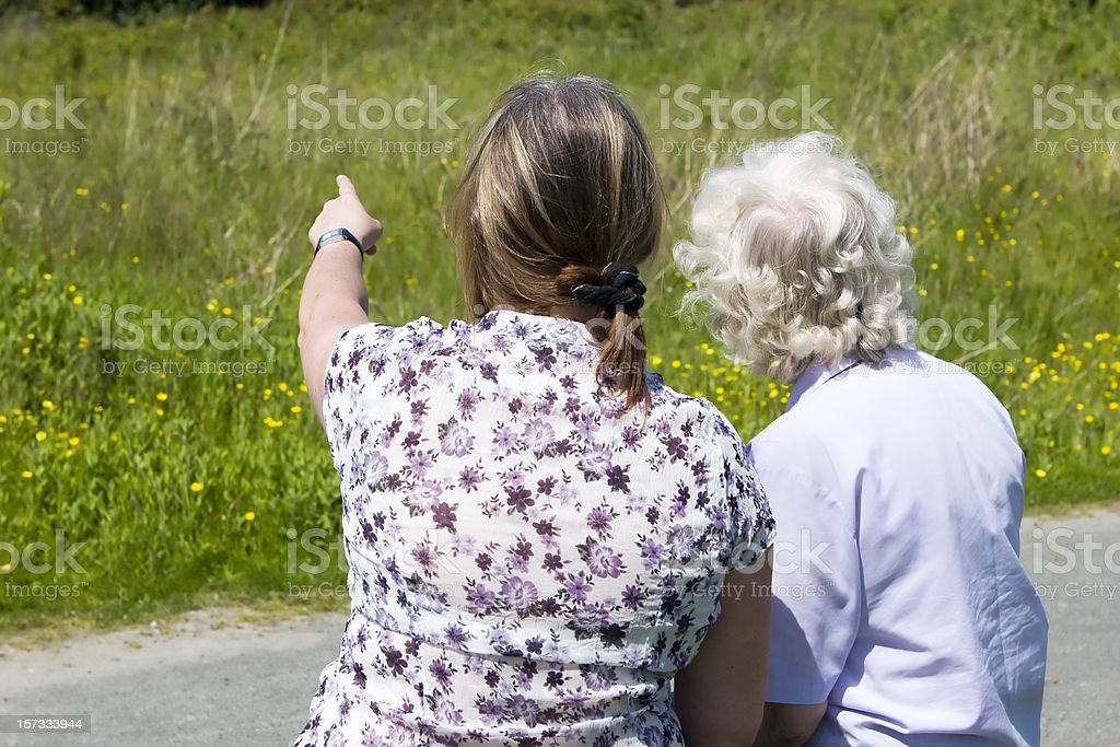 mother and daughter back view royalty-free stock photo