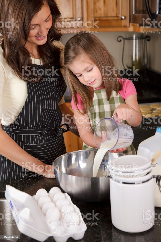 Mother and Daughter Baking in the Kitchen royalty-free stock photo