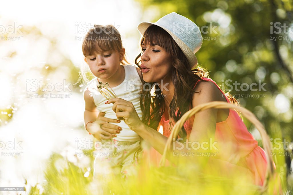 Mother and daughter blowing dandelion in the park. stock photo