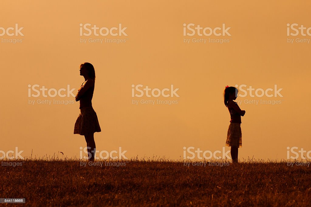Mother and daughter conflict stock photo