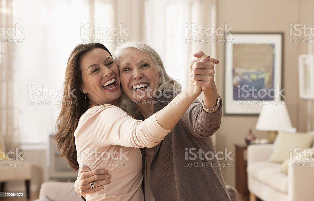 Mother and daughter dancing royalty-free stock photo