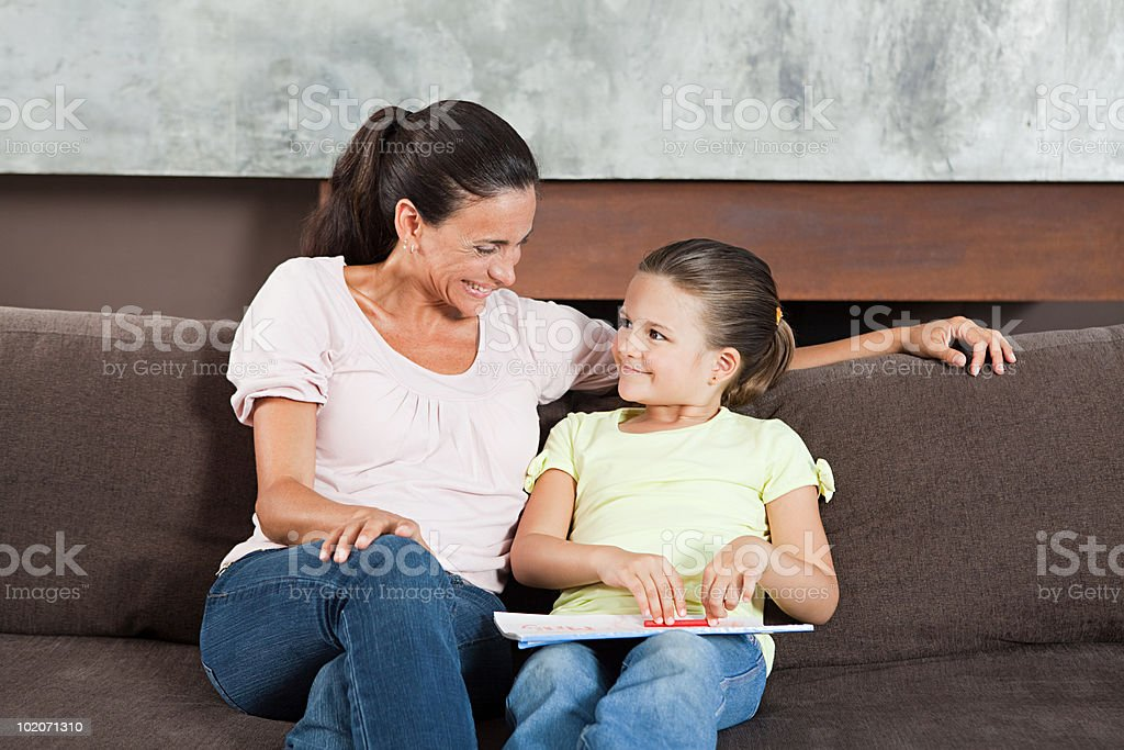 Mother and daughter drawing royalty-free stock photo