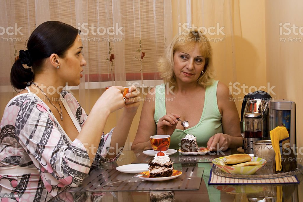 Mother and daughter drinking tea. royalty-free stock photo