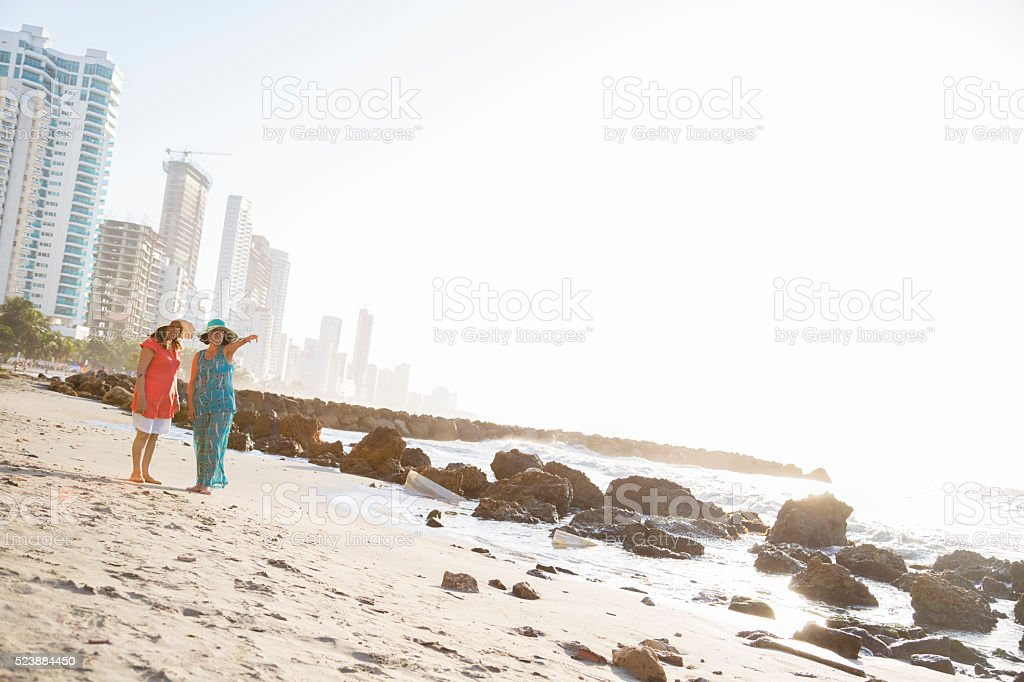 Mother and daughter enjoying your vacations stock photo