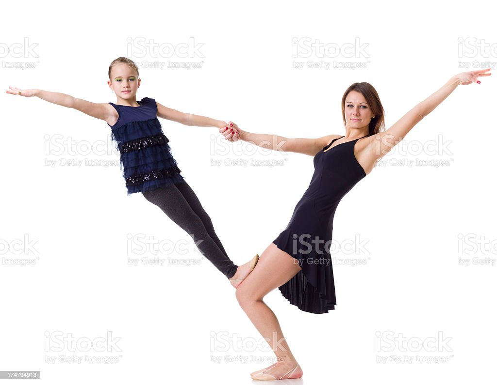 Mother and daughter exercise on white royalty-free stock photo