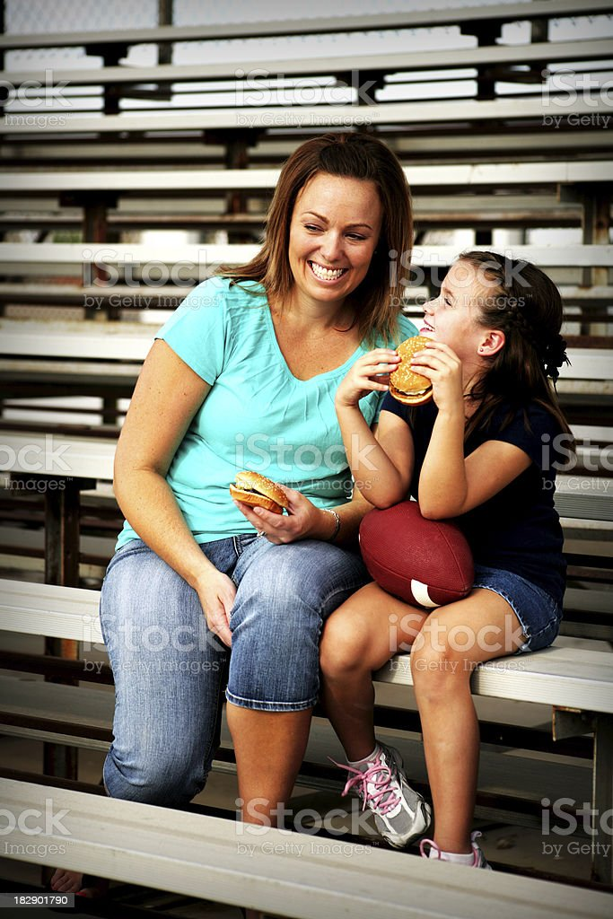 Mother and Daughter Fans royalty-free stock photo
