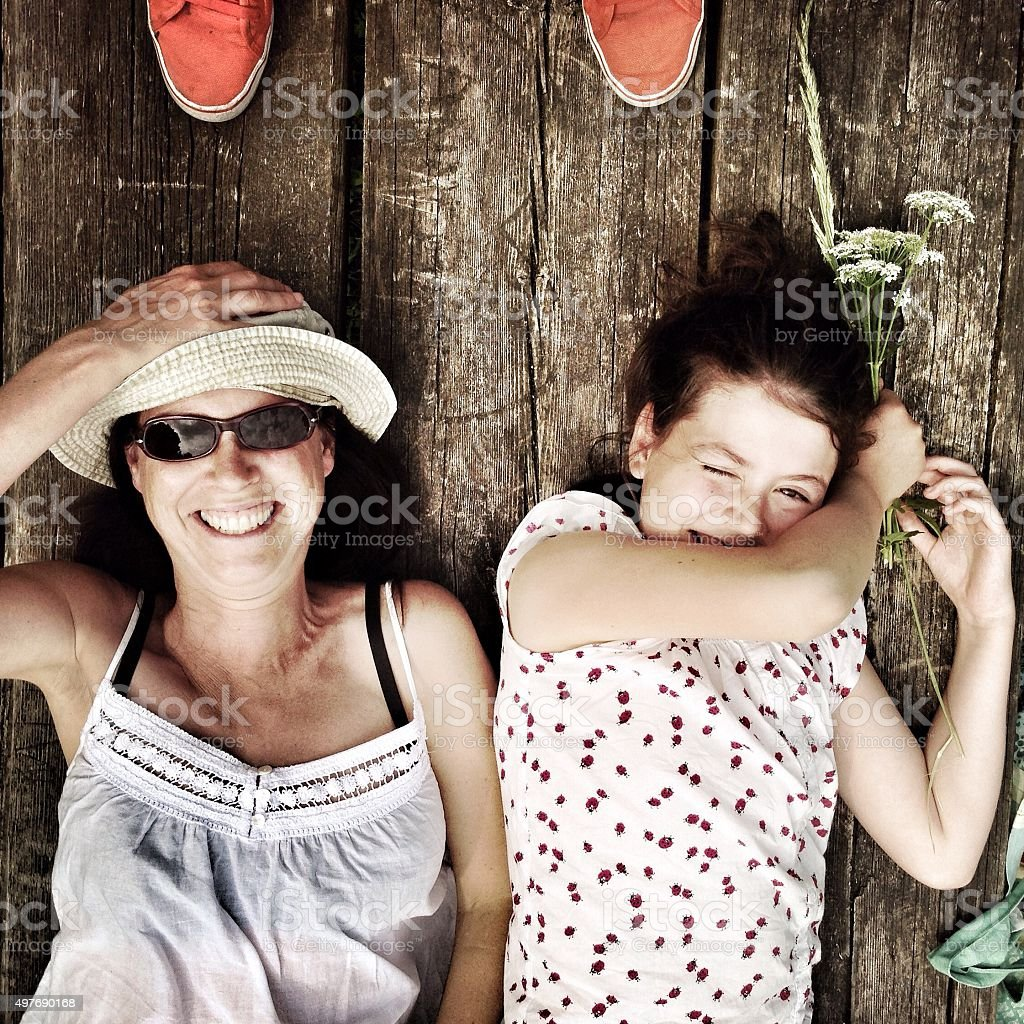 Mother and daughter happiness stock photo
