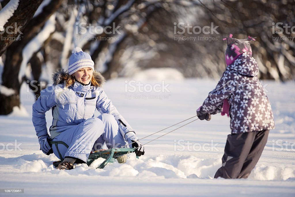 Mother and Daughter Having Fun in Winter Park royalty-free stock photo