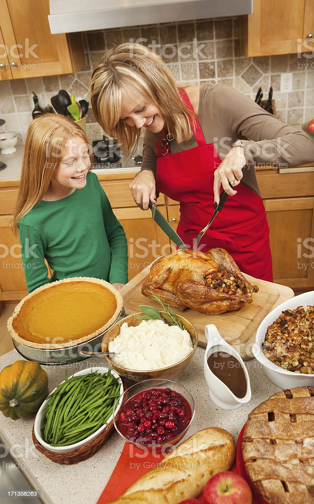 Mother and Daughter Helping to Serve Thanksgiving Turkey Vt royalty-free stock photo
