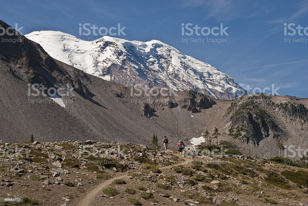 Mother and Daughter Hiking at Mount Rainier stock photo