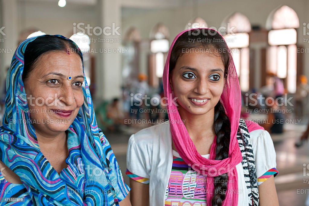 Mother and Daughter in Amritsar stock photo