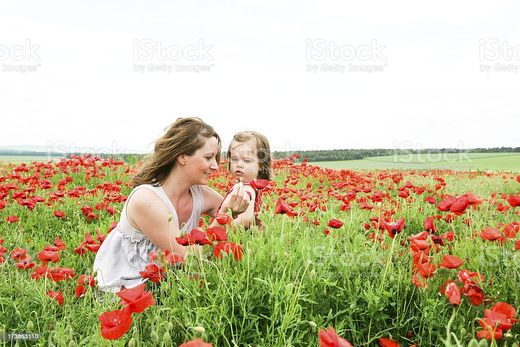 Mother and daughter in flower field royalty-free stock photo