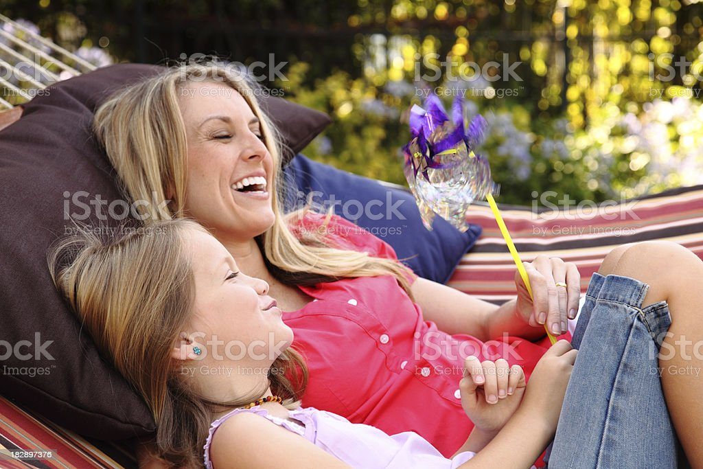 Mother And Daughter In Hammock royalty-free stock photo