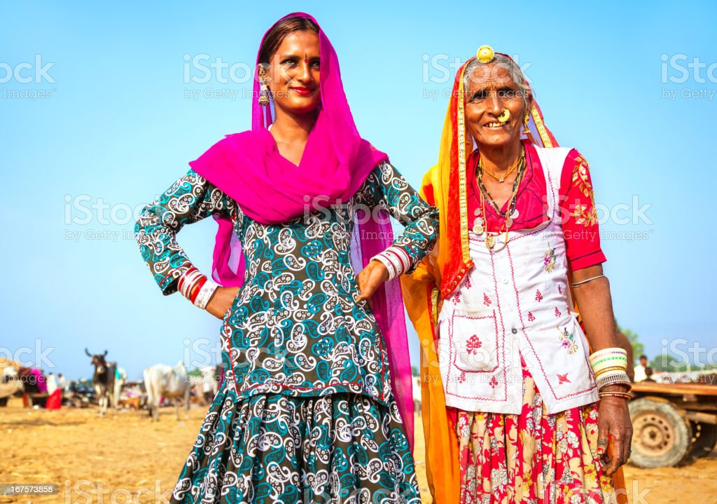 Mother and Daughter in India stock photo