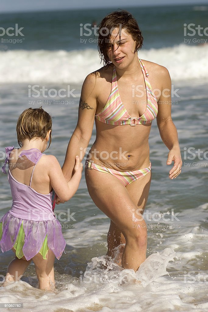 Mother and Daughter in Ocean royalty-free stock photo