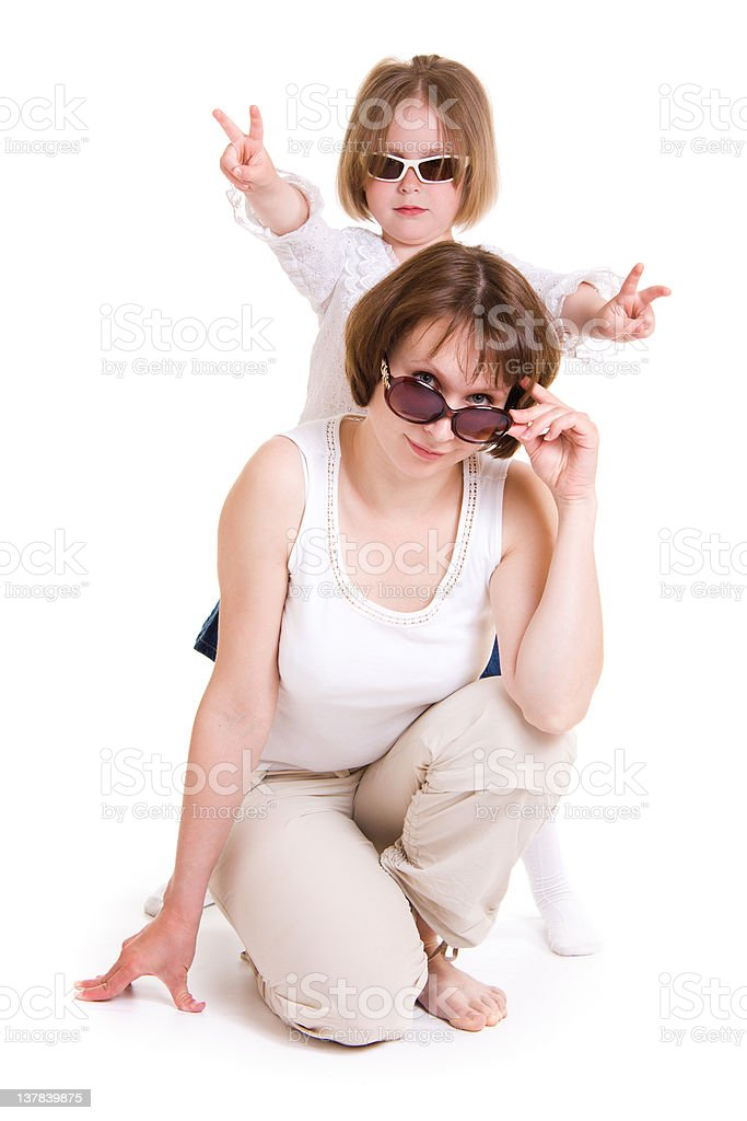Mother and daughter in sunglasses royalty-free stock photo