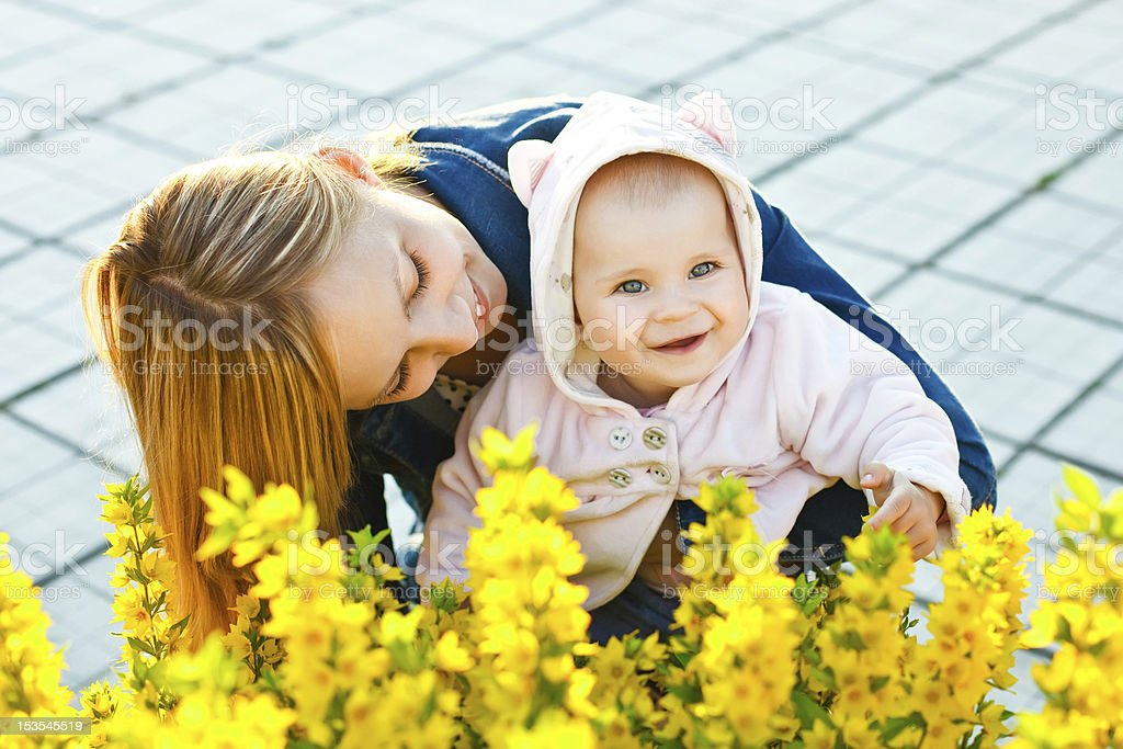mother and daughter in the garden royalty-free stock photo
