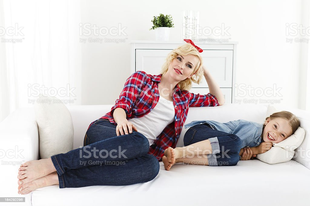 Mother and Daughter Lounging Together royalty-free stock photo