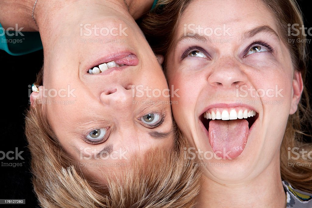 Mother And Daughter Making Silly Faces royalty-free stock photo