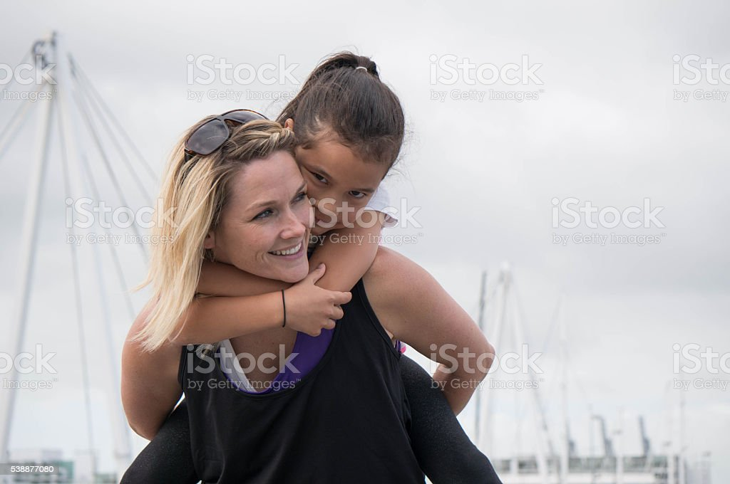 Mother and daughter moment stock photo