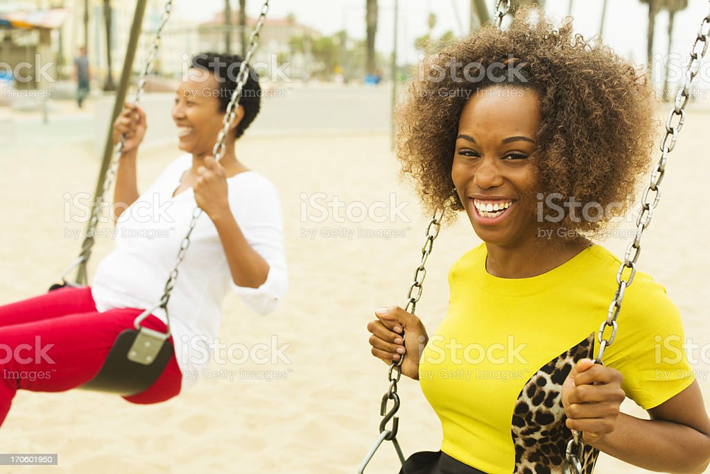 Mother and Daughter On a Swing royalty-free stock photo