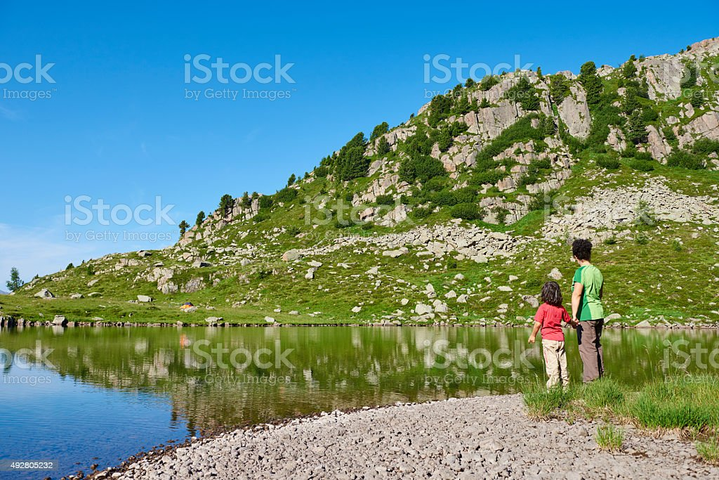 Mother and Daughter on Lake Shore stock photo