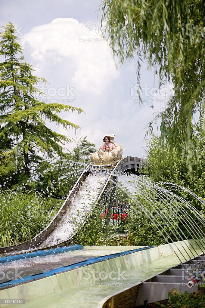 Mother and Daughter on Log Flume Water Ride stock photo