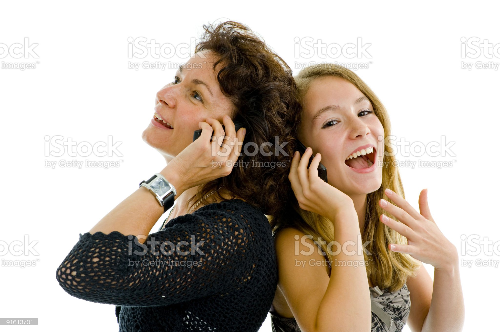 mother and daughter on the phone royalty-free stock photo