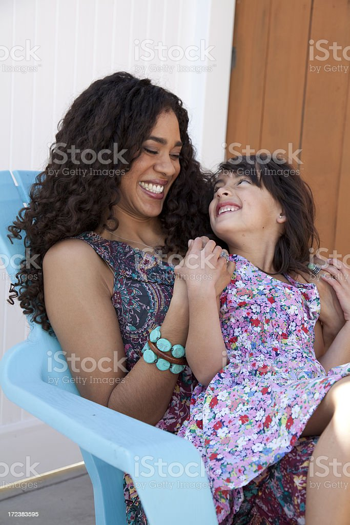 Mother and daughter outside royalty-free stock photo