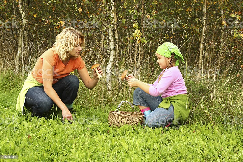 Mother and daughter picking mushrooms royalty-free stock photo