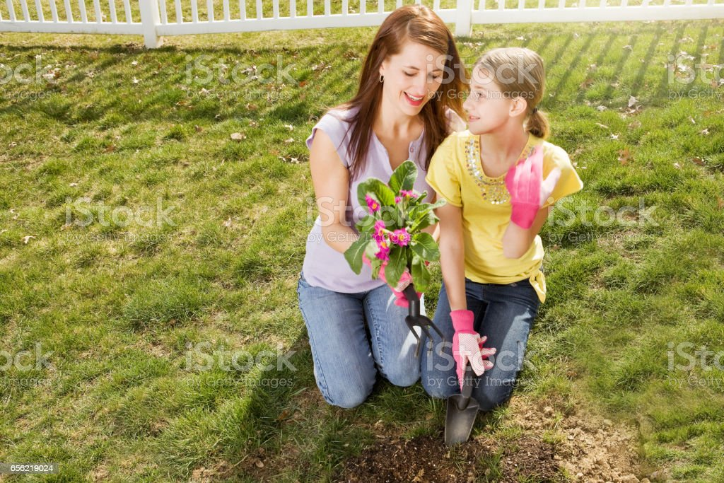 Mother and Daughter Planting Spring Flowers stock photo