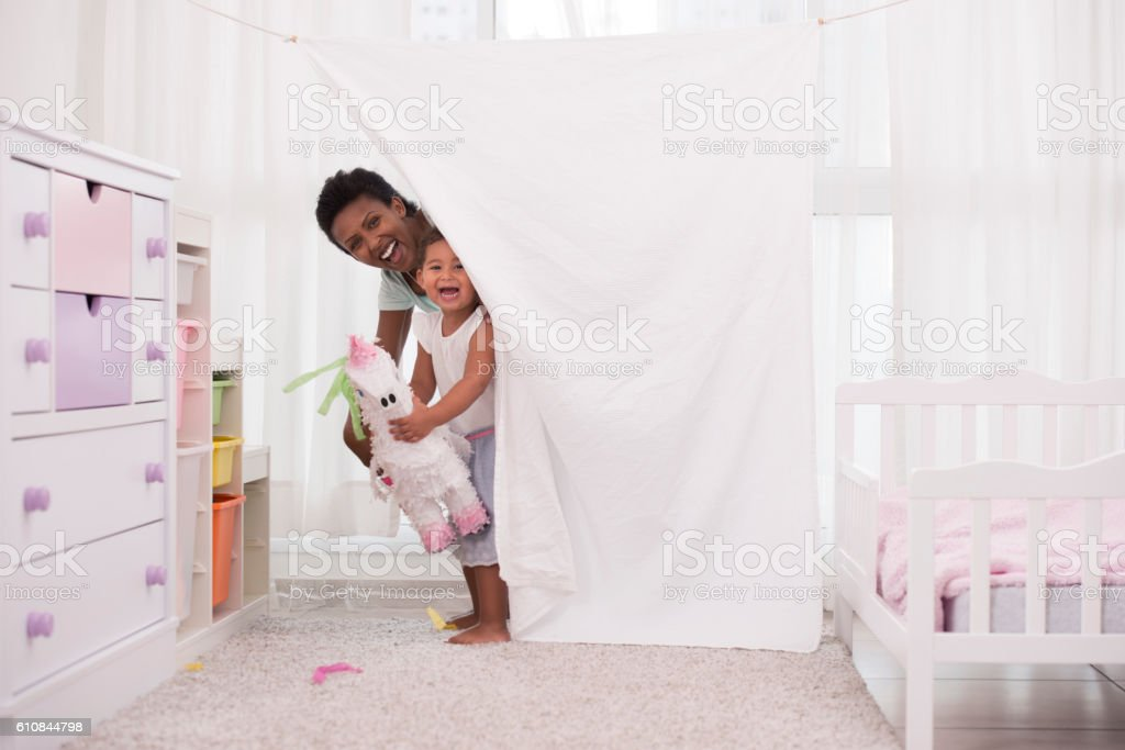 Mother and daughter playing time! stock photo