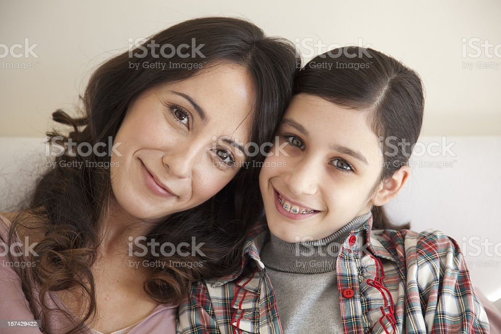 Mother and daughter portrait stock photo