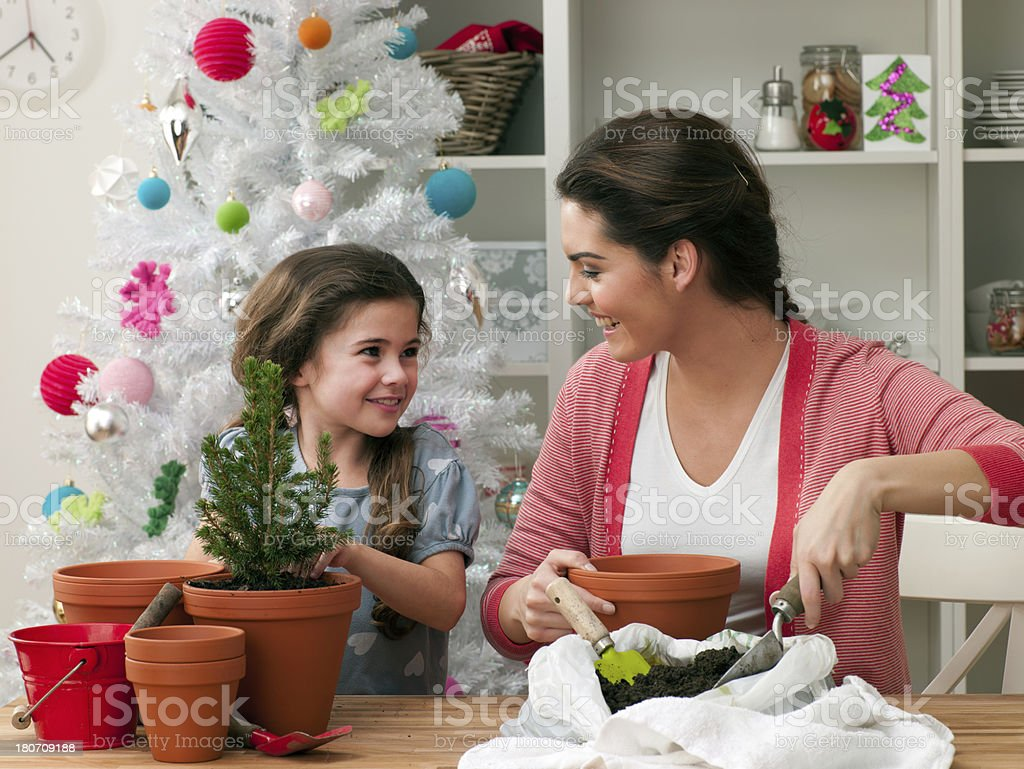 Mother and Daughter Potting Plants royalty-free stock photo