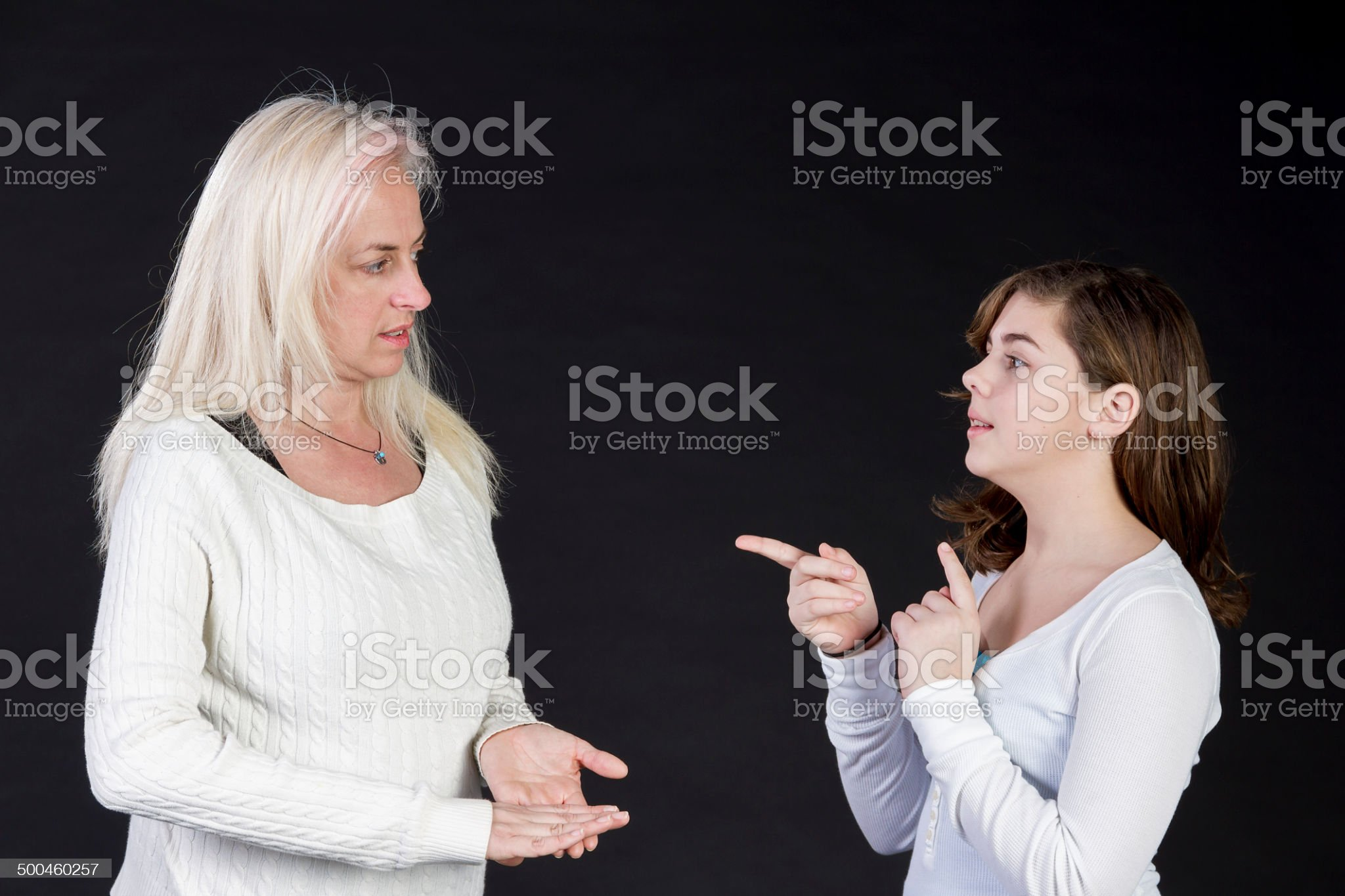 Mother and Daughter Practicing Sign Language royalty-free stock photo