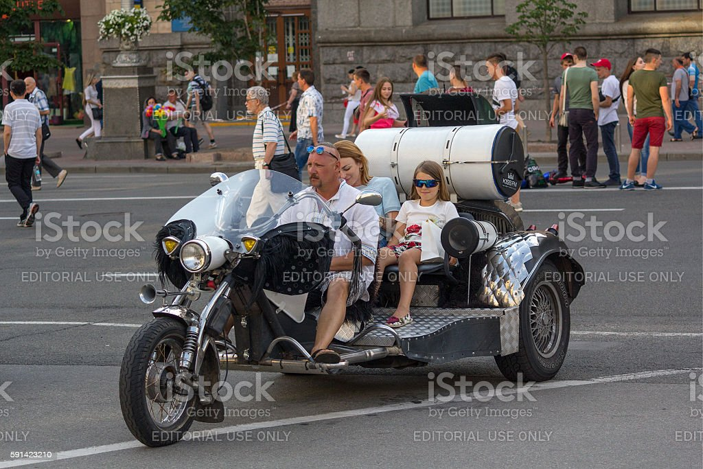 Mother and daughter ride on a motorcycle. Kiev, Ukraine stock photo