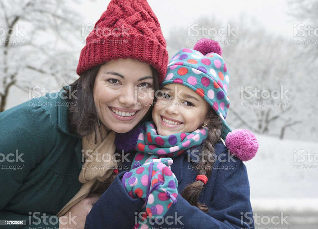 Mother and daughter smiling in the winter stock photo