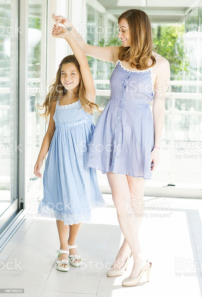 Mother and daughter smiling stock photo