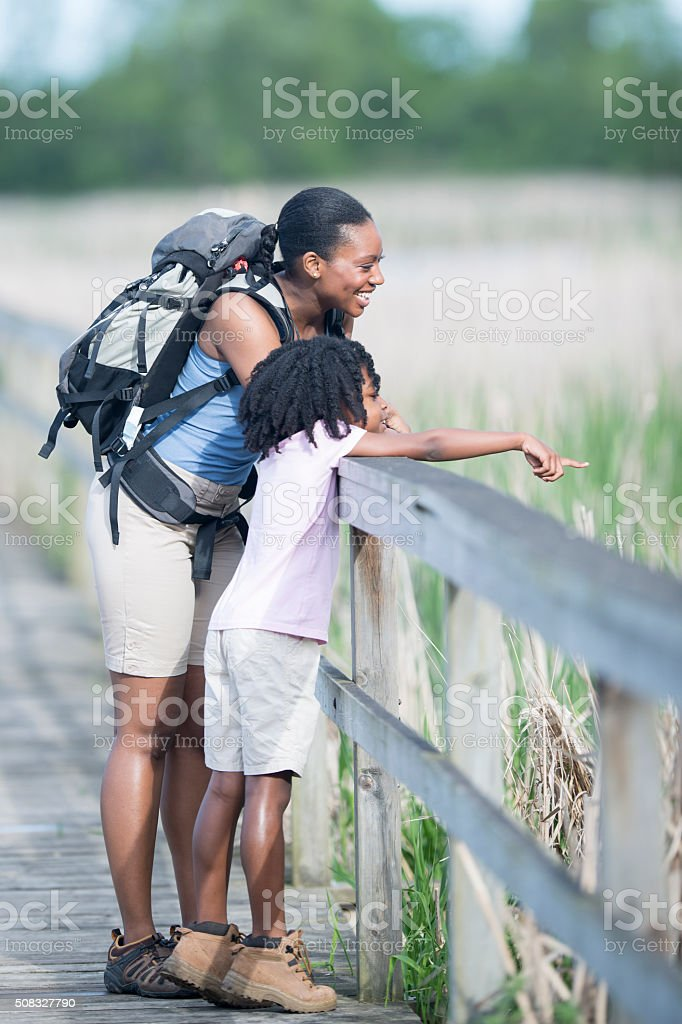 Mother and Daughter Spending Time in Nature stock photo