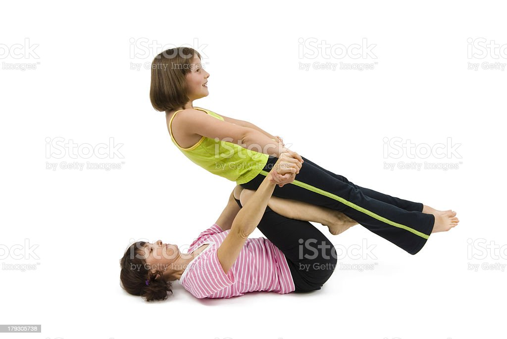mother and daughter sport stock photo