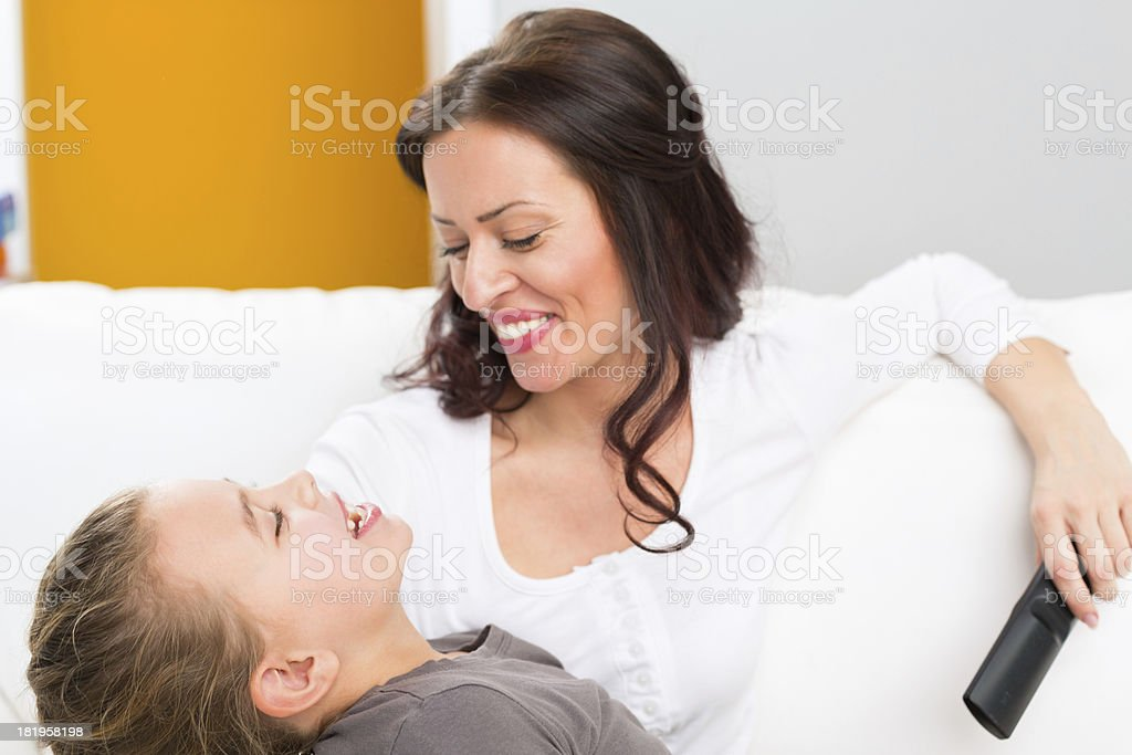 Mother and daughter talking royalty-free stock photo