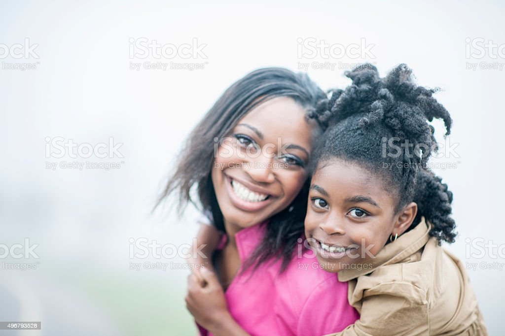 Mother and Daughter Together at the Park stock photo