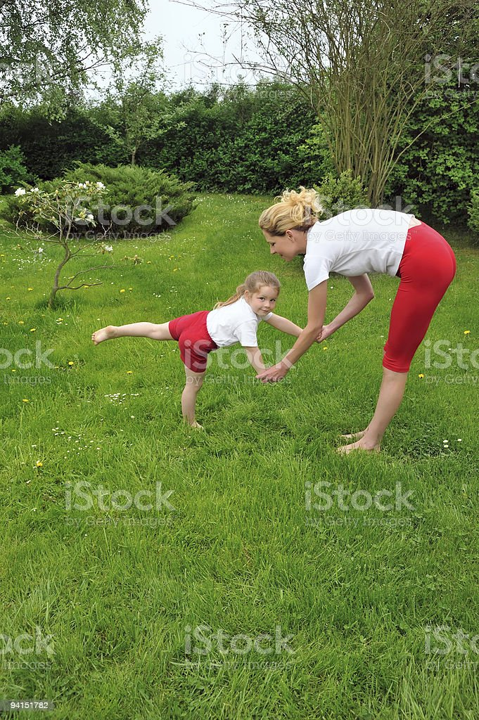 Mother and daughter - training royalty-free stock photo