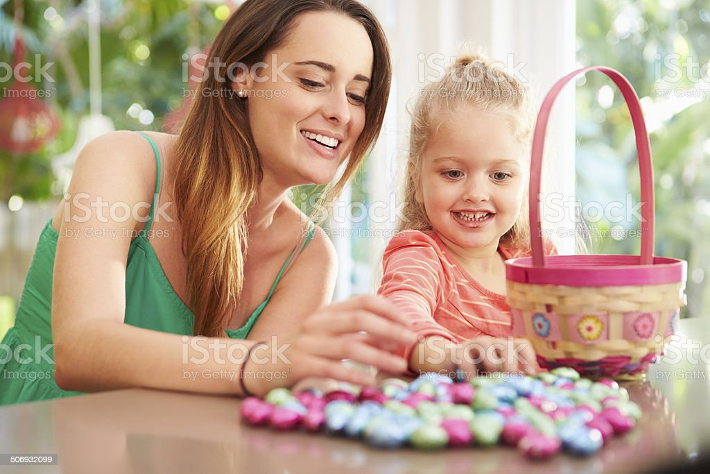 Mother And Daughter With Chocolate Easter Eggs And Basket stock photo