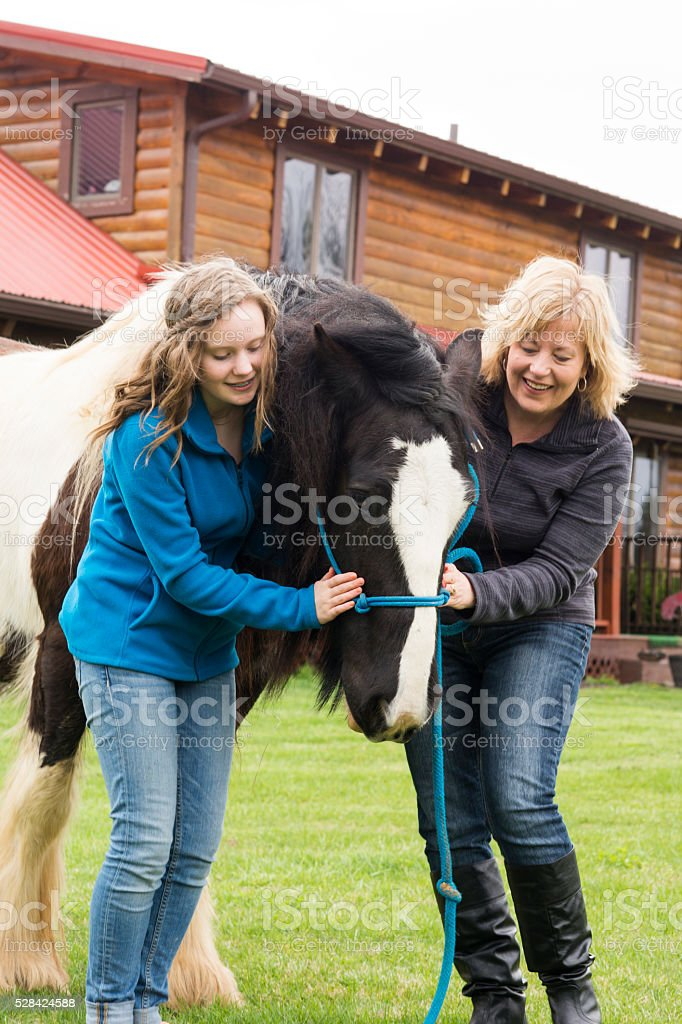 Mother and daughter with rare horse stock photo