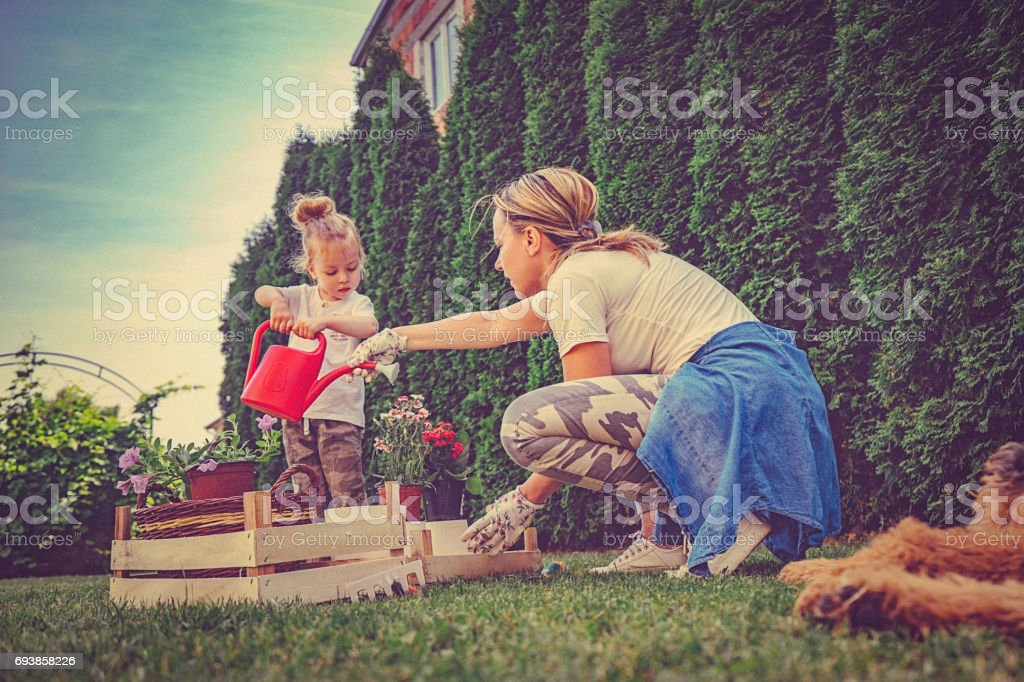 Mother And Daughter Working In The Garden together stock photo